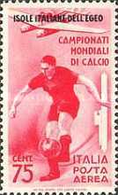 [Airmail - Football World Cup - Italian Stamps of 1934 in Different Colors Overprinted