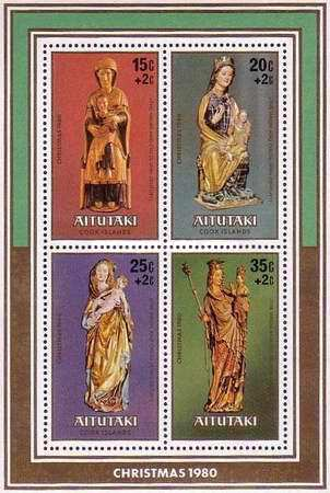 """[Christmas - Sculptures of """"The Virgin and Child"""" - Issues of 1980 Surcharged 2c, type ]"""
