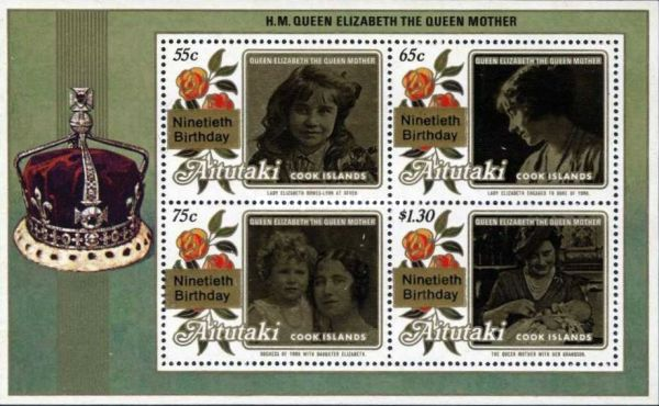 """[The 90th Anniversary of the Birth of Queen Elizabeth, the Queen Mother -  Issues of 1985 Overprinted """"Ninetieth Birthday"""", type ]"""