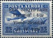 [Opening of Air Route Vlonë-Brindisi - Airmail Stamps of 1925 Overprinted, type AS2]