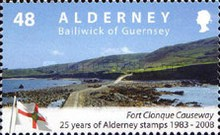 [The 25th Anniversary of the First Alderney Stamp, type LV]