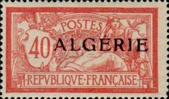 [French Postage Stamps Overprinted in Black, type B10]