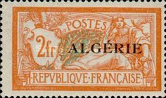 [French Postage Stamps Overprinted in Black, type B15]