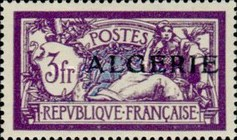 [French Postage Stamps Overprinted in Black, type B16]