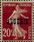 [French Postage Stamps Overprinted in Black, type B7]