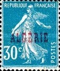 [French Postage Stamps Overprinted in Black, type B8]