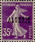 [French Postage Stamps Overprinted in Black, type B9]