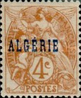 [French Postage Stamps Overprinted in Blue, type C]