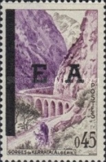 """[Stamps of France Overprinted """"EA"""" and with Bars Obliterating """"REPUBLIQUE FRANCAISE"""", type FG1]"""