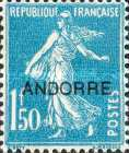 """[French Postage Stamps Overprinted """"ANDORRE"""", type B11]"""