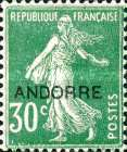 """[French Postage Stamps Overprinted """"ANDORRE"""", type B3]"""