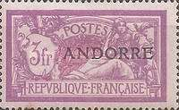 """[French Postage Stamps Overprinted """"ANDORRE"""", type C1]"""