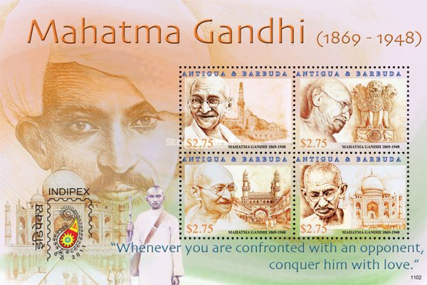 [Mahatma Gandhi, 1869-1948 - International Stamp Exhibition INDIPEX 2011 - New Delhi, India, type ]