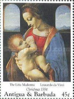 [Christmas - Madonna Illustrations on Paintings of the 15th and 16th Century, type BAT]
