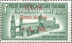 [Italy Postage Stamps of 1944 Overprinted