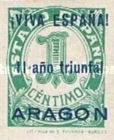 [The 1st Anniversary of the National Government - Spanish Postage Stamps Overprinted in Different Colors, type B]