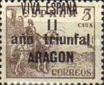 [The 1st Anniversary of the National Government - Spanish Postage Stamps Overprinted in Different Colors, type B2]
