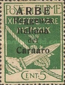 """[Carnaro Islands Postage Stamps Overprinted """"ARBE"""" - Large Overprint - See Also 1A-4A, type A]"""