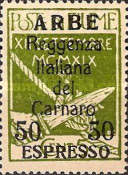 """[Carnaro Island Stamps Overprinted """"ARBE"""", type L]"""