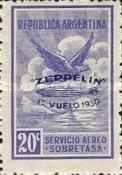 [Airmail - The First South American Route of Graf Zeppelin Airship - Airmail Stamps of 1928 Overprinted in Blue, type DK]