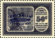 [Airmail - The First South American Route of Graf Zeppelin Airship - Airmail Stamps of 1928 Overprinted in Blue, type DK1]