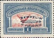 [Airmail - The First South American Route of Graf Zeppelin Airship - Airmail Stamps of 1928 Overprinted in Blue, type DK2]