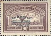 [Airmail - The First South American Route of Graf Zeppelin Airship - Airmail Stamps of 1928 Overprinted in Green, type DL2]