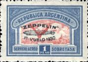 [Airmail - The First South American Route of Graf Zeppelin Airship - Airmail Stamps of 1928 Overprinted in Green, type DL3]