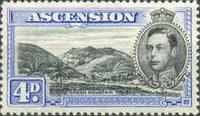 [King George VI and Views of Ascension, type F4]