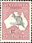 [Definitive Issues - Kangaroo and Map - Different Watermark, type A34]