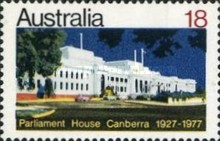 [The 50th Anniversary of the Parliamentary House in Canberra, 1927-1977, type RJ]