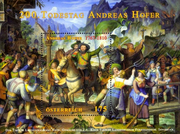 [The 200th Anniversary of the Death of Andreas Hofer, 1767-1810, Typ ]