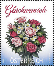 [Greetings Stamp - Bouquet with Roses, Typ DPE]