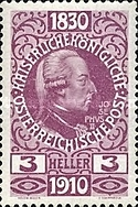 [The 80th Anniversary of the Birth of Emperor Franz Josef I - With Enlarged Year Labels Top and Bottom, Typ X1]