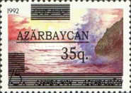 """[Caspian Sea - Unissued Stamp Overprinted """"AZARBAYCAN"""" and Surcharged, type X1]"""