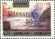 """[Caspian Sea - Unissued Stamp Overprinted """"AZARBAYCAN"""" and Surcharged, type X2]"""