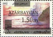 """[Caspian Sea - Unissued Stamp Overprinted """"AZARBAYCAN"""" and Surcharged, type X3]"""
