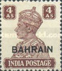 """[Postage Stamps of India Overprinted """"BAHRIAN"""", type D9]"""