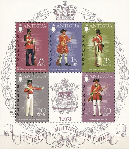 [Military Uniforms - 3 Stamps from 1973 Military Uniforms Issue + 2 New Stamps in Minisheet, type ]