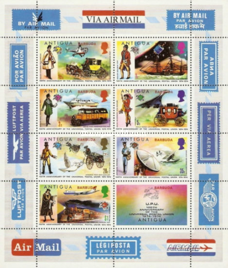 [The 100th Anniversary of the Universal Postal Union UPU - Antigua Postage Stamps Overprinted