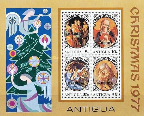 [Christmas - Antigua Postage Stamps Overprinted
