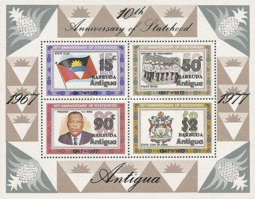 [The 10th Anniversary of Independence - Antigua Postage Stamps Overprinted