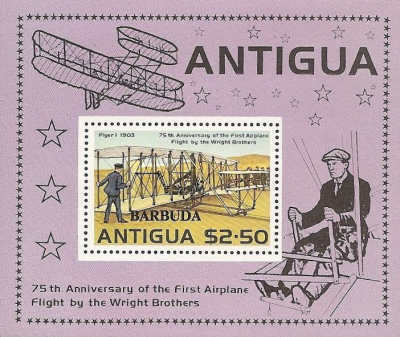 [The 75th Anniversary of the First Flight by the Wright Brothers - Antigua Postage Stamp Overprinted