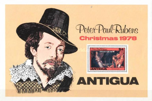 [Christmas - Paintings. Antigua Postage Stamps Overprinted