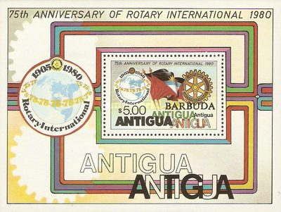 """[The 75th Anniversary of Rotary International - Antigua Postage Stamps Overprinted """"BARBUDA"""", type ]"""