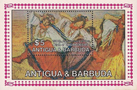 [The 150th Anniversary of the Birth of Edgar Degas, Painter, 1834-1917 - Issue of 1984 of Antigua & Barbuda Overprinted
