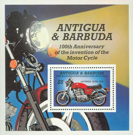 [The 100th Anniversary of the Motorcycle - Issue of 1985 of Antigua & Barbuda Overprinted