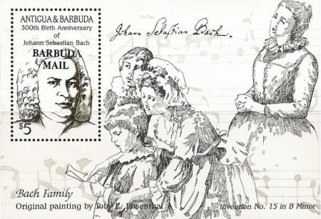 [The 300th Anniversary of the Birth of Johann Sebastian Bach, Composer, 1685-1750 - Issue of 1985 of Antigua & Barbuda Overprinted