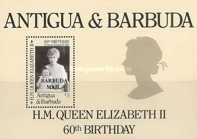 [The 60th Anniversary of the Birth of Queen Elizabeth II - Issue of 1986 of Antigua & Barbuda Overprinted