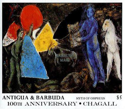 [The 100th Anniversary of the Birth of Marc Chagall, Artist, 1887-1985 - Issue of 1987 of Antigua & Barbuda Overprinted